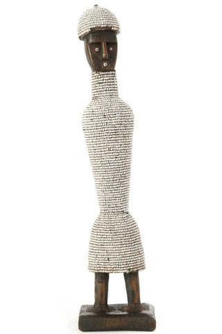 Swahili African Modern White Beaded Tall Namji Doll With Hat