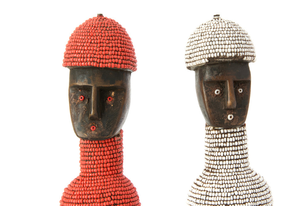 Swahili Red Beaded Tall Namji Doll With Hat - Trovati