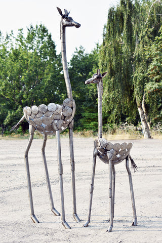 Swahili African Modern Kenyan Recycled Metal Giraffe Plant Holder-Small