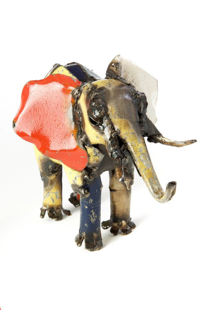 Swahili African Modern Tiny Colorful Reycled Oil Drum Elephant Sculpture - Trovati