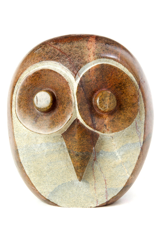 Swahili African Modern Shona Stone Owl Sculpture - Large - Trovati