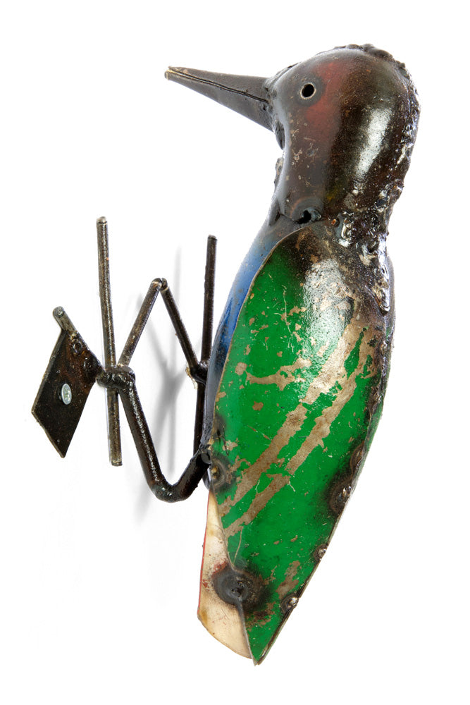 Swahili African Modern Recycled Oil Drum Hanging Woodpecker Sculpture - Trovati