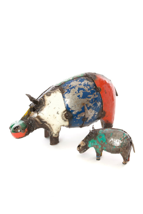 Swahili African Modern Colorful Recycled Oil Drum Hippo Sculpture - Tiny - Trovati