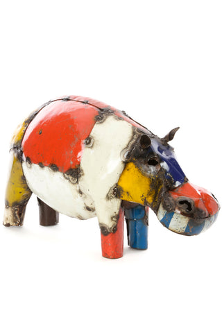 Swahili African Modern Colorful Recycled Oil Drum Hippo Sculpture - Medium