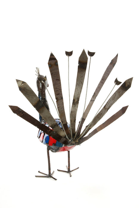 Swahili African Modern Recycled Metal Peacock Sculpture - Large - Trovati