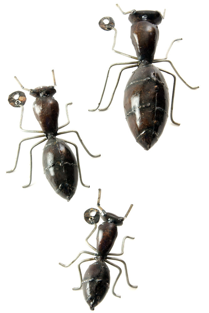 Swahili African Modern Recycled Metal Ants - S/3 - Trovati