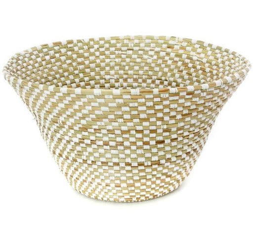 Checkerboard Funnel Basket | African | Trovati Studio White