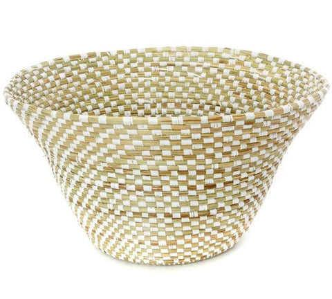 Swahili African Modern White Checkerboard Funnel Basket