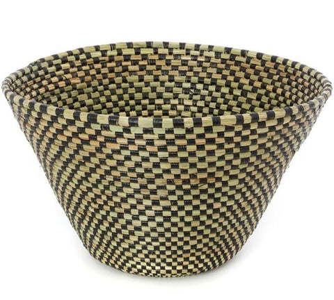 Swahili African Modern Black Checkerboard Funnel Basket