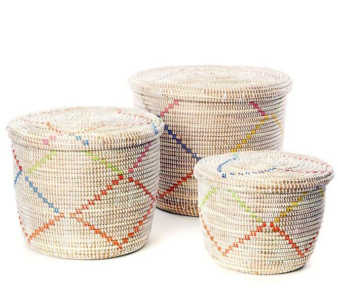 Swahili African Modern Rainbow Garland Lidded White Storage Baskets S/3