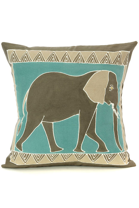 Zambian Hand Painted Sky Blue African Elephant Pillow Cover | Trovati Studio