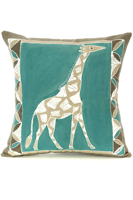 Zambian Hand Painted Sky Blue African Giraffe Pillow Cover | Trovati Studio
