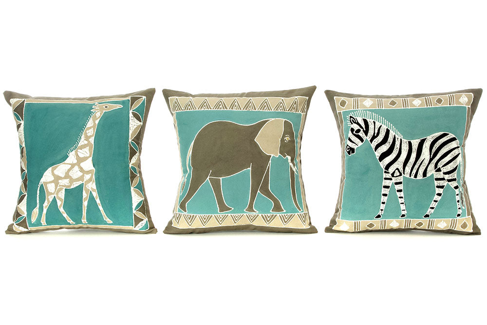 Zambian Hand Painted Sky Blue African Animal Pillow Cover