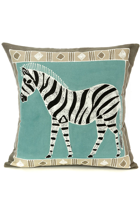 Zambian Hand Painted Sky Blue African Zebra Pillow Cover | Trovati Studio