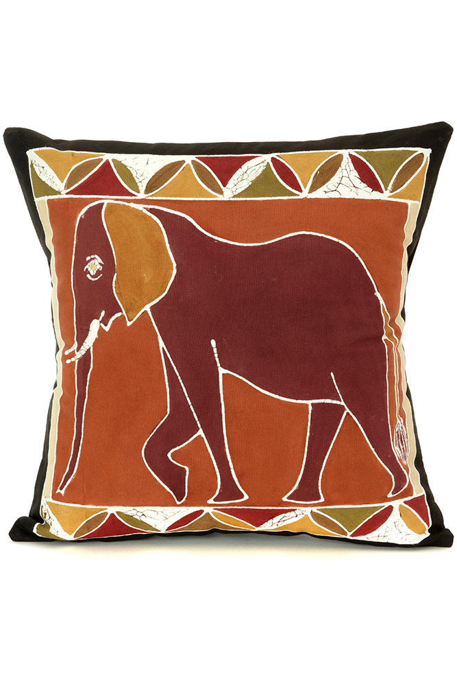 Zambian Hand Painted Bush Clay African Elephant  Pillow Cover | Trovati Studio