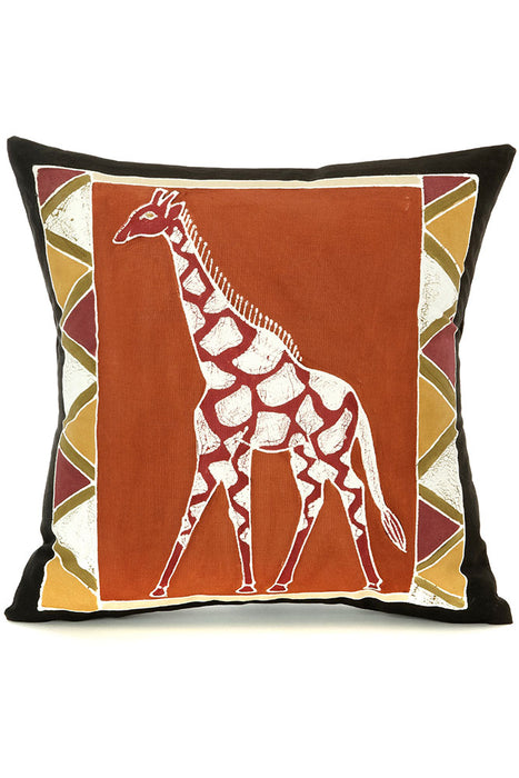Zambian Hand Painted Bush Clay African Giraffe Pillow Cover | Trovati Studio