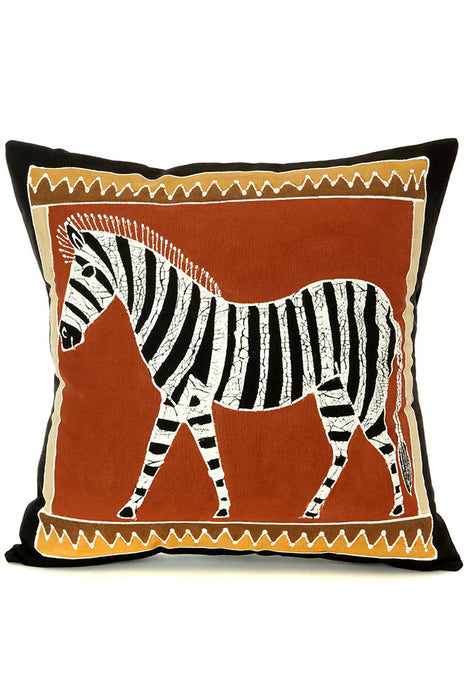 Zambian Hand Painted Bush Clay African Zebra Pillow Cover | Trovati Studio