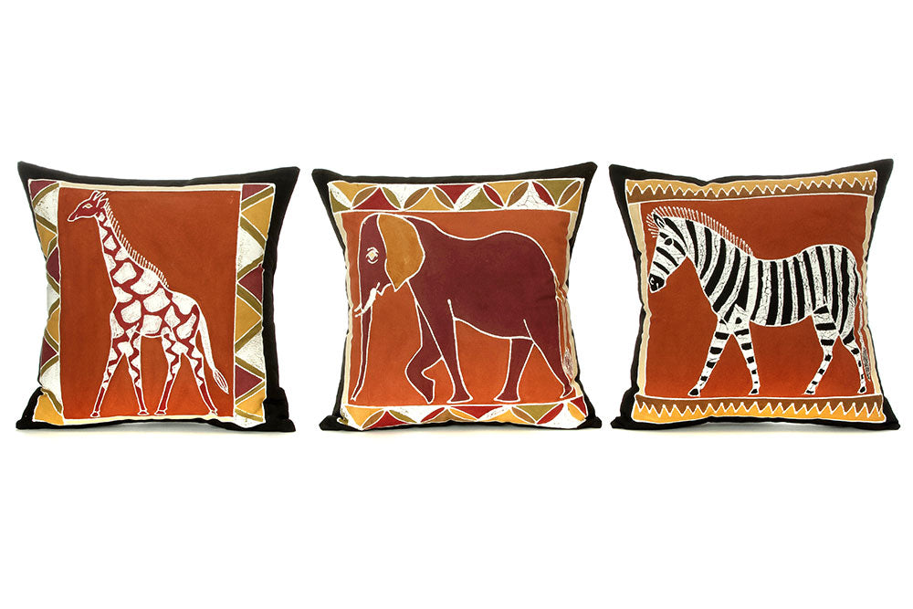 Zambian Hand Painted Bush Clay African Animal Pillow Cover