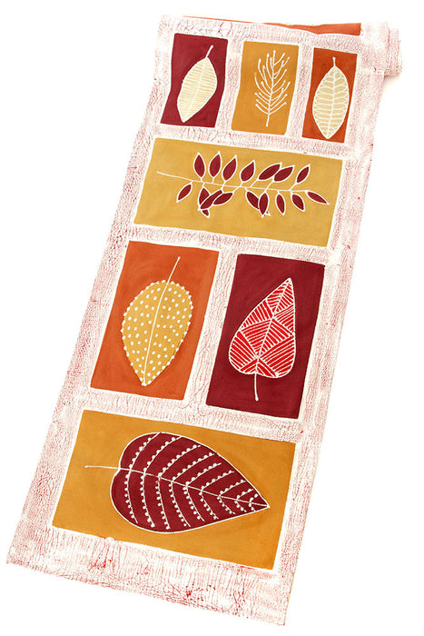 Zambian Hand Painted Lusandwa Leaves Table Runner