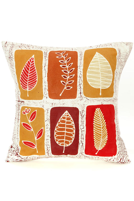 Zambian Hand Painted Lusandwa Leaves Pillow Cover | Trovati Studio