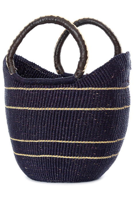 Pin Stripe Bolga Basket Shopper | African | Trovati Studio | Blue