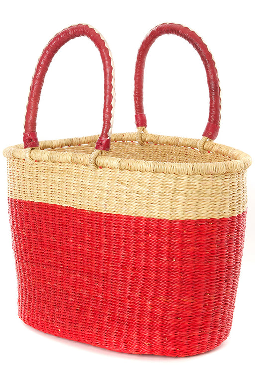 Color Block Bolga Basket Shopper | African | Trovati Studio | Red