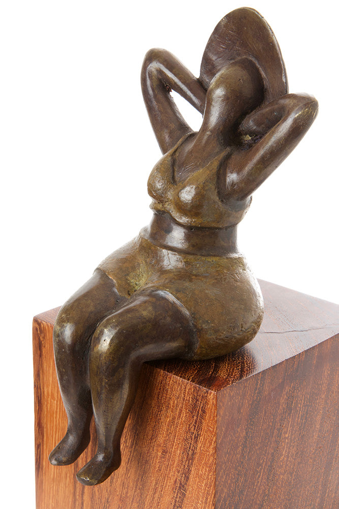 Seaside Stretch Bronze Lady Sculpture