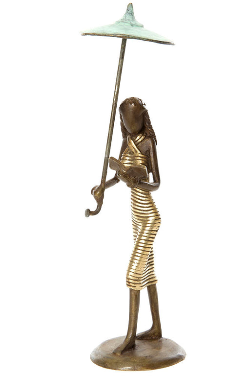 Luminous Life Multitasking Bronze Woman Sculpture | African