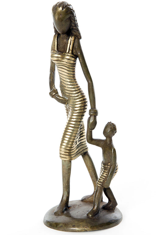Lustrous Life Mother & Toddler Bronze Sculpture | African | Trovati Studio