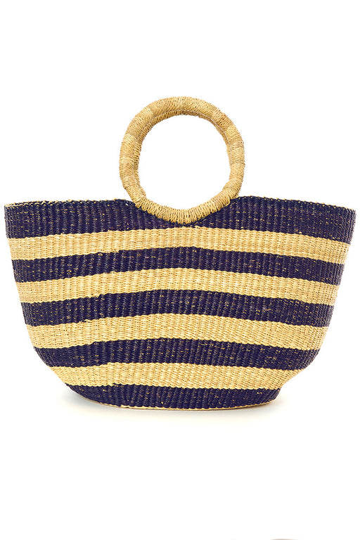 Navy Blue Striped Bolga Basket Shopper | African | Trovati Studio