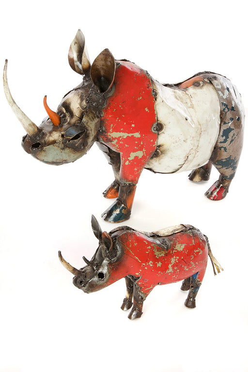 African Colorful Recycled Rhino Sculpture | Swahili Modern | Trovati Studio