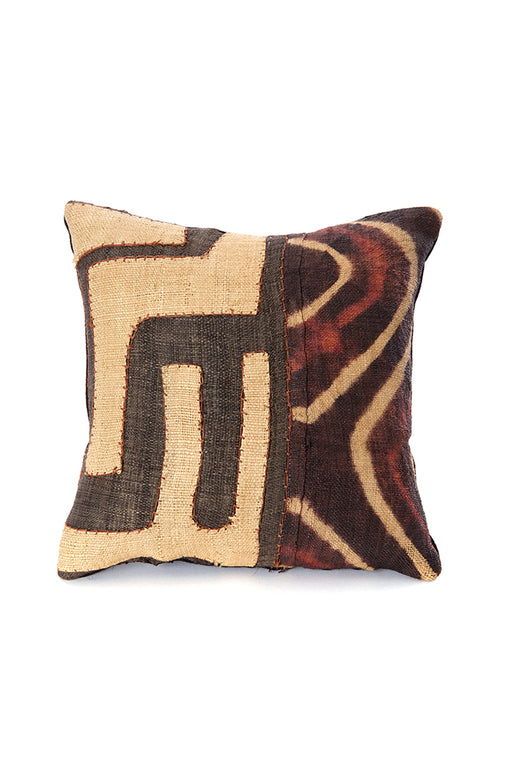 African Congo Raffia Criss-Cross Decorative Pillow | Trovati Studio