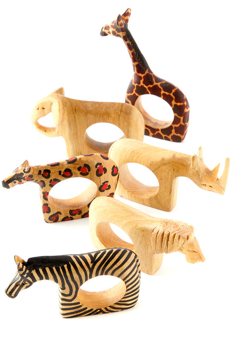 Safari Animal Napkin Rings S/6 | African Handcrafted | Trovati Studio