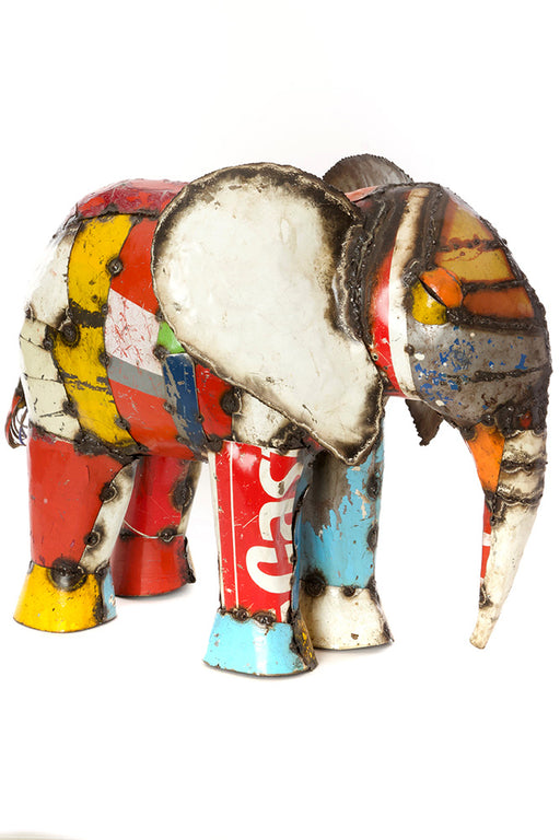African Colorful Recycled Sleepy Elephant Sculpture | Trovati Studio