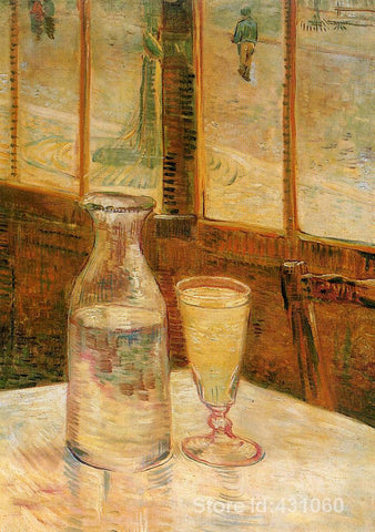 Café Table with Absinthe Canvas Print by Vincent Van Gogh