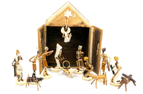 Swahili Banana Fiber Double Door Stable Nativity Scene
