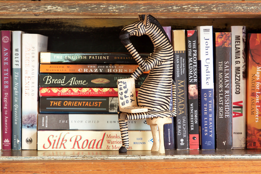 Swahili African Modern Sitting Zebra Reader Sculpture