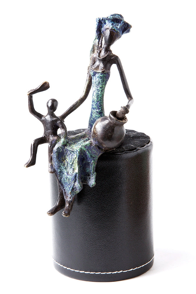Swahili Assorted Bronze Seated Mother and Child Sculptures - Trovati