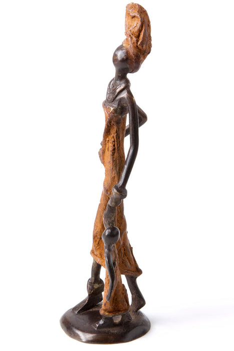 Mother and Child Walking Bronze Sculpture | African | Trovati Studio