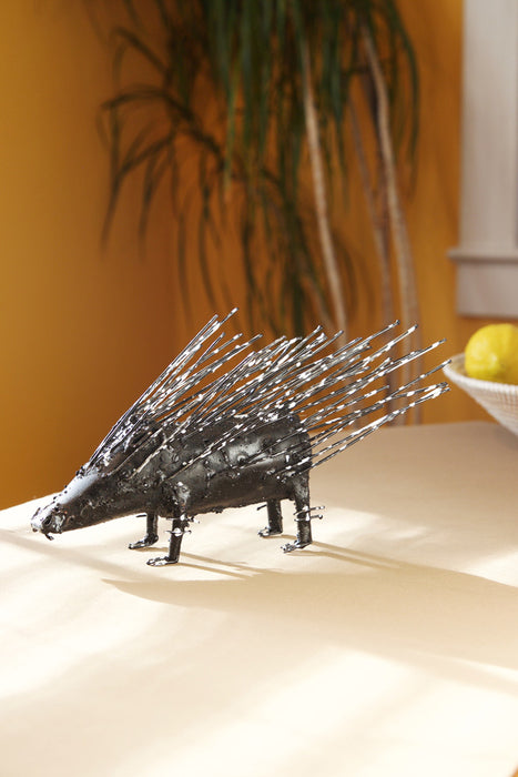 Swahili Recycled Metal Porupine Sculpture - Trovati
