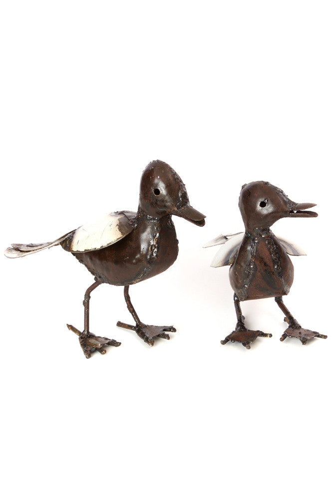 Swahili Recycled Metal Baby Duck Sculpture - Trovati