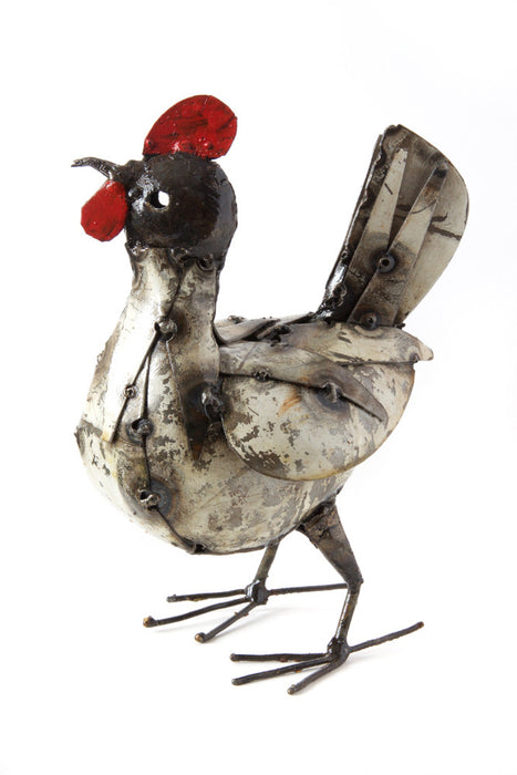 Swahili Small Recycled Metal Hen Sculpture - Trovati