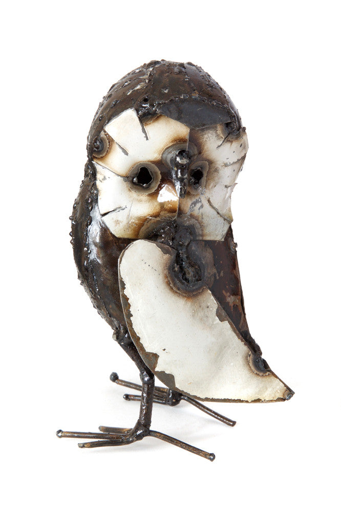 Swahili Recycled Metal Curious Owl Sculptures