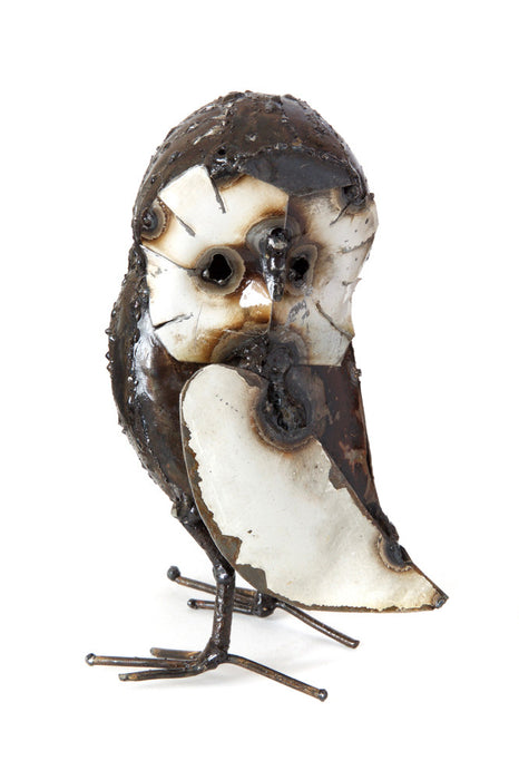 Swahili Recycled Metal Curious Owl Sculptures - Trovati