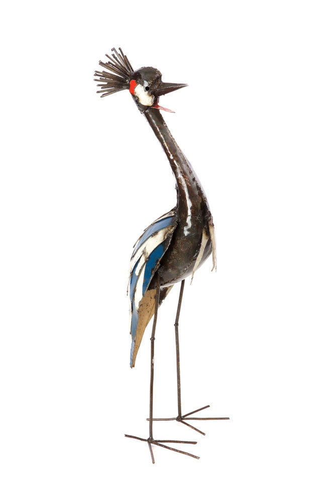 Swahili Recycled Metal Crowned Crane Sculptures - Trovati