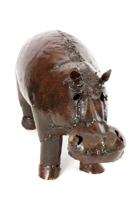 Swahili Recycled Oil Drum Hippo Sculpture-Large - Trovati