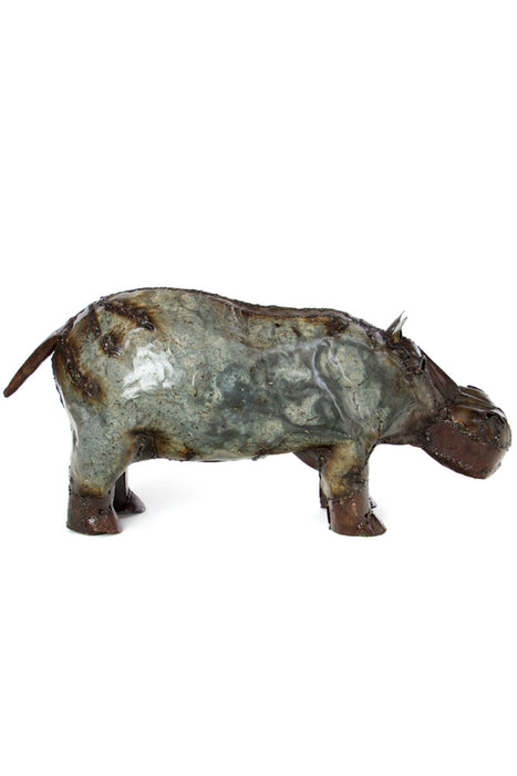 Swahili Recycled Oil Drum Hippo Sculpture-Small - Trovati