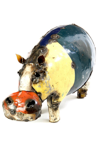 Swahili African Modern Colorful Recycled Oil Drum Hippo Sculpture - Small