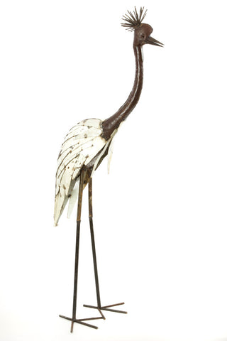 Swahili African Modern White Recycled Metal Crowned Crane Sculpture - Large