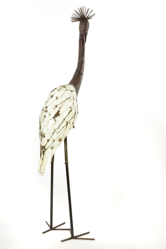 Swahili African Modern White Recycled Metal Crowned Crane Sculpture - Large - Trovati